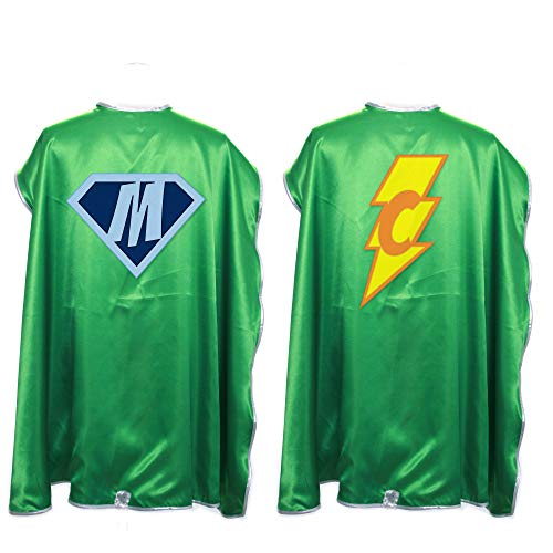 Everfan Personalized Superhero Capes for Kids | Custom Child Super Hero Cape | Cape Costume for Children | Polyester Satin (Green)