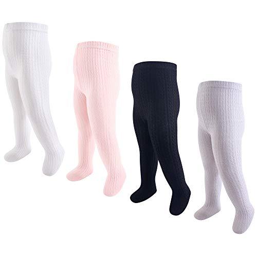 Hudson Baby Girls' Cotton Rich Tights, Light Pink Black Cableknit, 18-24 Months
