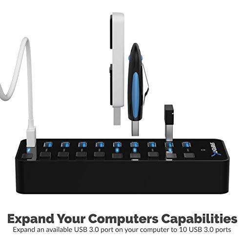 Sabrent USB HUB 10-Port 60W USB 3.0 Hub mit individuellen Netzschaltern und LEDs enthält 60W 12V / 5A Netzteil (HB-BU10)