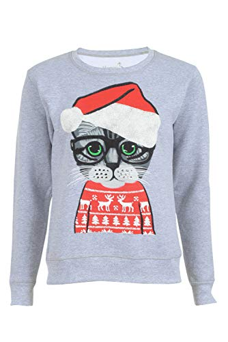 Hanes Women's Christmas Cat Ugly Sweater Sweatshirt, Light Steel, XX-Large