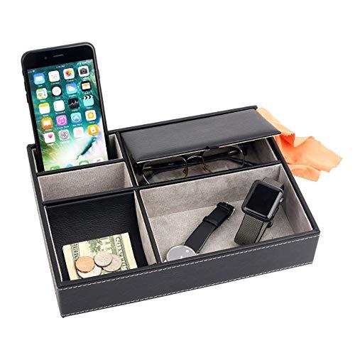 Bandeja de cuero para hombre, organizador de almacenamiento de escritorio, soporte para mando a distancia, llaves, teléfono, cartera, monedas, joyas, bandeja de cuero organizador para hombres