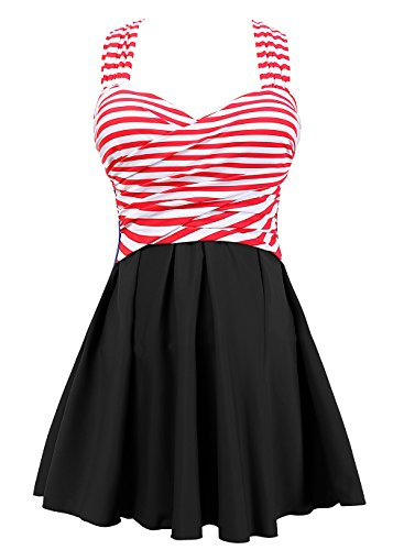 COCOPEAR Women's Elegant Crossover One Piece Swimdress Floral Skirted Swimsuit(FBA) Red Stripe Black 2XL/14-16