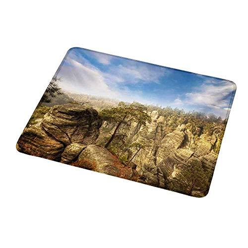 Natural Gaming Mouse Pad Natur, Wunder des Weltnationalparks Felsformation Tschechisches Bild, Sky Blue Tan Creme Olivgrün für Laptops