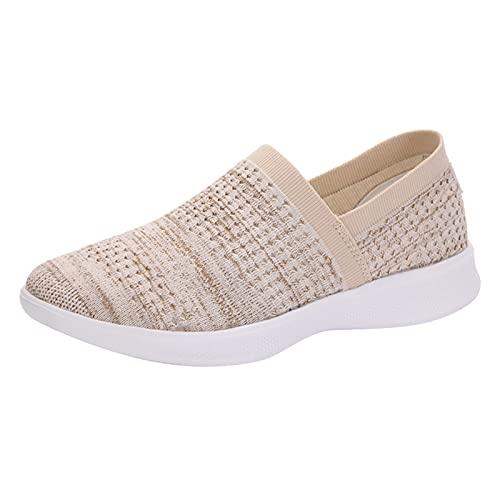 Zapatos Deporte Mujer Zapatos de Malla Transpirables y Ligeros Zapatillas Deportivas Correr Gimnasio (M23_Beige,37)