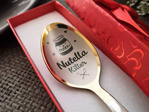 Nutella Killer Löffel – personalisierter Löffel mit Namen und Datum – personalisiertes Geschenk für Nutella gestempelter Löffel – Andenken - lustiges Geschenk