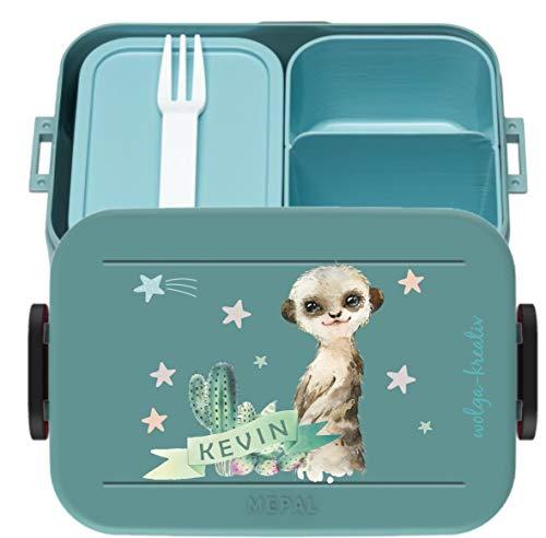 wolga-kreativ Brotdose-n Mepal Obsteinsatz Lunchbox Bento Box Erdmännchen personalisiert Brotbüchse mit Namen Bedruckt Kindergarten Schule Mädchen Junge