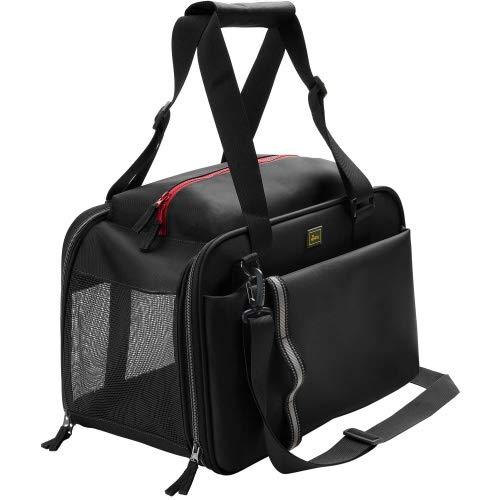 HUNTER Orlando Tragetasche für Hunde und Katzen mit besonders guter Belüftung und praktischen Außentaschen Farbe schwarz, Größe one-Size