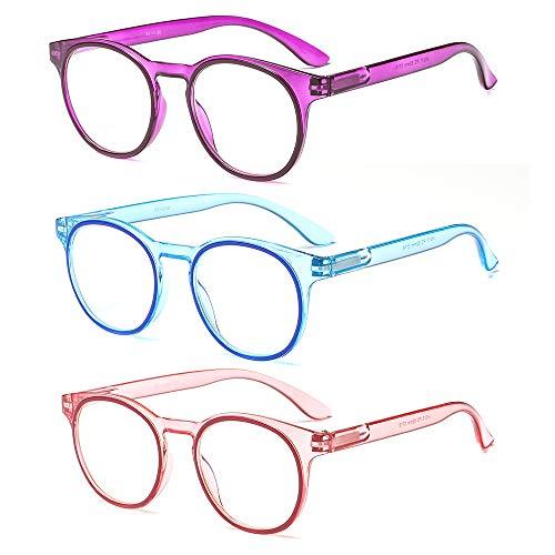 Suertree Blaulicht Brille 3pcs Blaulichtfilter Lesebrille Computerbrille Sehhilfe Augenoptik Lesehilfe für Damen 0.0X JH211