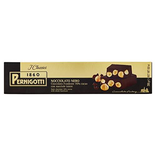 Pernigotti, Torrone Nocciolato Fondente, al Cioccolato Fondente con Nocciole Intere, Senza Glutine, 250 gr