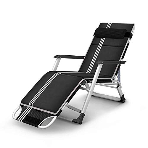 JIUYUE Siesta Nap Bed Household Garden Lounge Chair Sun Loungers Office Folding Chairoutdoor Deck Chair Portable Beach Bed Load of About 200kg Length 178cm Black Deck Chair