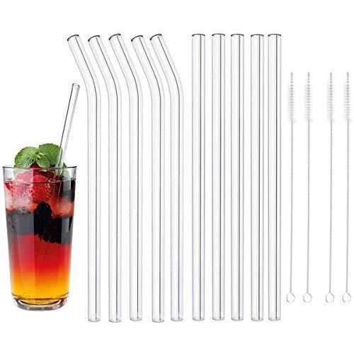 DBAILY Cannucce Vetro, 20 Pezzi Cannucce Vetro Trasparente Riutilizzabili Eco Cannucce di Vetro con 4 Pezzi Spazzola per Frullati Cocktail e Bevande Calde