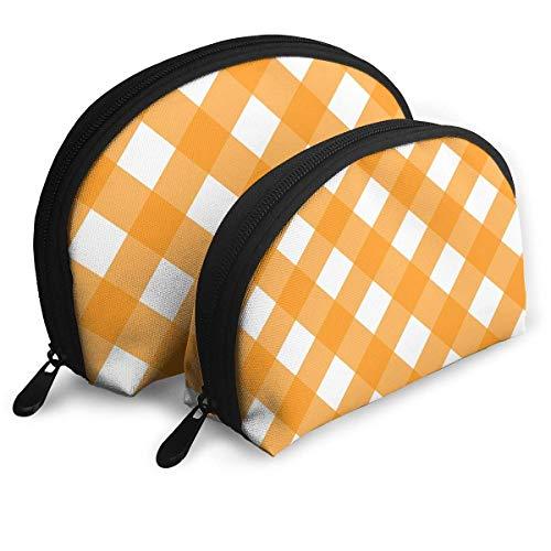 XCNGG Bolsa de almacenamiento, enrejado naranja y blanco, bolso de maquillaje de...