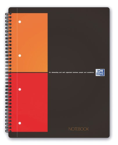 Oxford 100103664 - International Notebook, A4+, kariert, 80 Blatt, stabiler Kartondeckel, grau