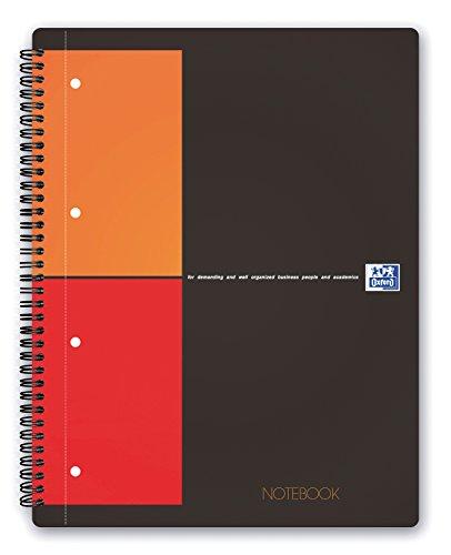 OXFORD Cahier International Notebook A4+ Petits Carreaux 5mm 160 Pages Reliure Intégrale Couverture Carte Gris