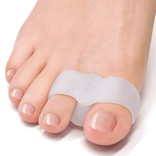 Welnove [12X] correctores de juanete, separadores de dedos con 2 bucles, espacio para el dedo gordo adecuado para juanetes y dedos superpuestos (blanco)