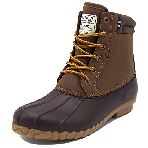 Nautica Mens Duck Boots - Waterproof Shell Insulated Snow Boot - Channing-Tan/Brown-11