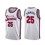 25# Simmons Sixers - Camiseta deportiva de baloncesto para hombre, camiseta deportiva sin mangas, chaleco deportivo, sin mangas, tallas S a XXL), Calle, Hombre, color Citywhite, tamaño M