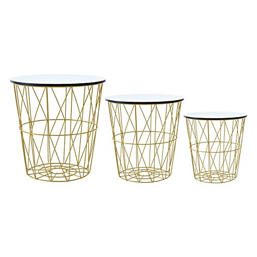 Saadiya Round Nesting Tables Nested of 3 Tables Sofa Side Table with Metal Wire Frame Removable Top Nesting Table Coffee Table Storage Basket for Living Room Bedroom