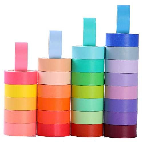 Set di 30 rotoli di nastri adesivi colorati Washi da 15 mm di larghezza, per decorazioni, washi tape, nastro adesivo decorativo scrivibile per lavori fai da te, libri di ritagli e disegni