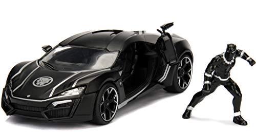 Jada Toys - 99723bk - Modell Lykan Hypersport Mit Black Panther Figur 1/24 Die Cast Marvel , Schwarz