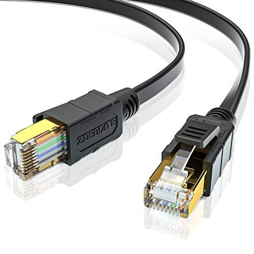 SPEEDSPORTING 3m Cat 8 Netzwerkkabel Ethernet-Kabel Hochgeschwindigkeit 40Gbps 2000MHz SSTP CAT8 Flaches Patchkabel RJ45 Gigabit Internet LAN Kabel für Modem, Router, Gaming, Xbox, PC
