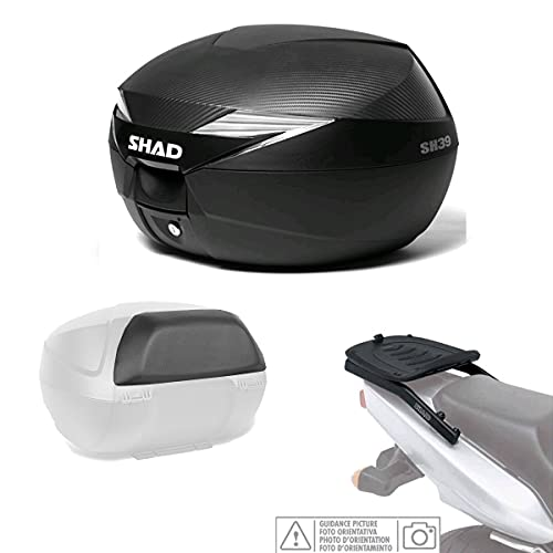 Kit-shad-326 - Kit fijacion y Maleta baul Trasero + Carbono + Respaldo Pasajero Regalo sh39 Compatible con Honda Forza 125 2015-2016