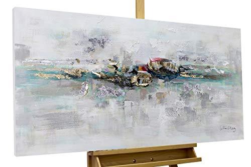 KunstLoft® Acryl Gemälde 'Mirage' 120x60cm | original handgemalte Leinwand Bilder XXL | Abstrakt Grau Blau Gold Schlafzimmer Küche | Wandbild Acryl Bild