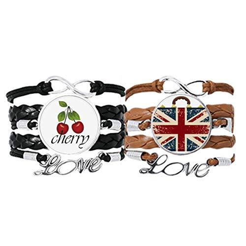 Union Jack Retro Suitcase Britain UK Flag Culture Bracelet Hand Strap Leather Rope Cherry Love Wristband Double Set