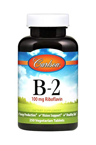 Carlson - B-2, 100 mg Riboflavin, Energy Production, Vision Support & Healthy Skin, 250 Vegetarian Tablets