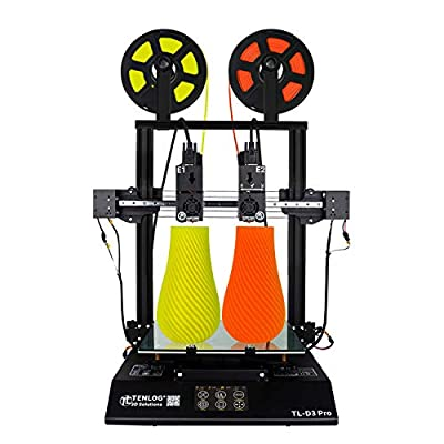 Tenlog TL-D3 Pro 3D Printer, Independent Dual Extruder 3D Printer with 4.3'' Touch Color Screen,Silent Mainboards TMC2208 Drive Support PVA TPU ABS PLA,Direct Feed FDM 3D Printer 300x300x350mm
