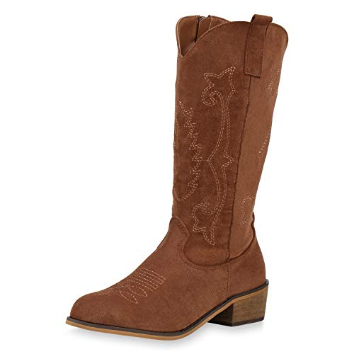 SCARPE VITA Damen Stiefel Cowboystiefel Leicht Gefütterte Western Boots Cowboy Schuhe Stickereien Wildleder-Optik 187571 Hellbraun 38