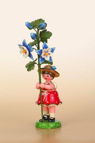 Hubrig Blumenkinder 17cm Mädchen mit Akelei Erzgebirge