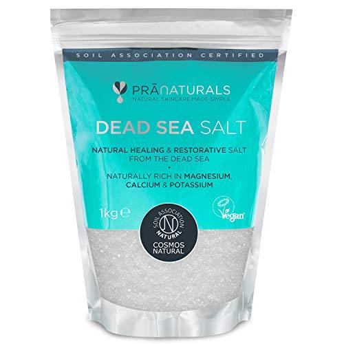PraNaturals Sale del Mar Morto, bagno ammollo ricco di minerali naturali Magnesio per tutti i tipi di pelle, certificato COSMOS naturale, vegano e suolo certificato, 1kg