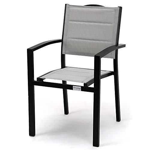 acamp Gartenstühle Alberto | 4er-Set Stapelsessel | Silber-Grau/Schwarz | Größe: 55x56x88cm | Aluminium-Gestell pulverbeschichtet | Bezug aus atmungsaktivem, wetterfestem Acatex-Gewebe