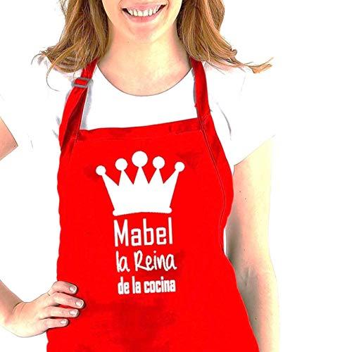 Delantal cocina personalizado con la frase: (nombre) el Rey de la cocina, (nombre) la reina de la cocina. Varios colores. Regalo SOLIDARIO. Hecho en España