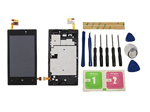Flügel for Nokia Lumia 520 525 526 Display LCD Ersatzdisplay Schwarz Touchscreen Digitizer Bildschirm Glas Komplett Einheit mit Rahmen Ersatzteile & Werkzeuge & Kleber