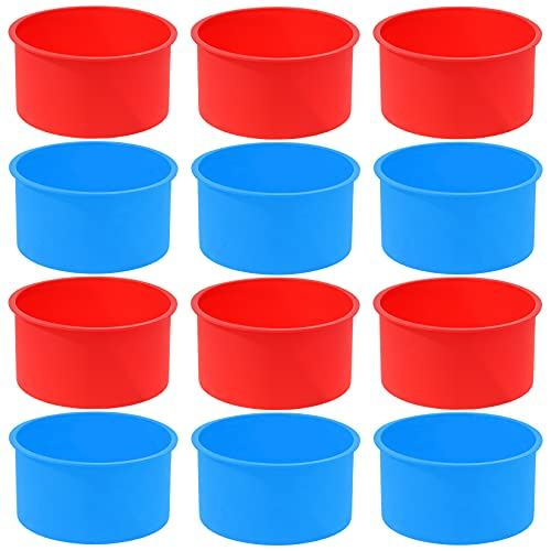 12pcs Silicone Cake Mold Baking Round Cake Molds 4 Inch Non-Stick Baking Pan Kitchen Silicone Cake Molds for Baking(Red, Blue, 4inch)