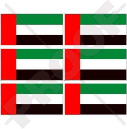 VEREINIGTE ARABISCHE EMIRATE Flagge, Fahne VAE Dubai, Abu Dhabi 40mm Mobile, Handy Vinyl Mini Aufkleber, Abziehbilder x6 Stickers