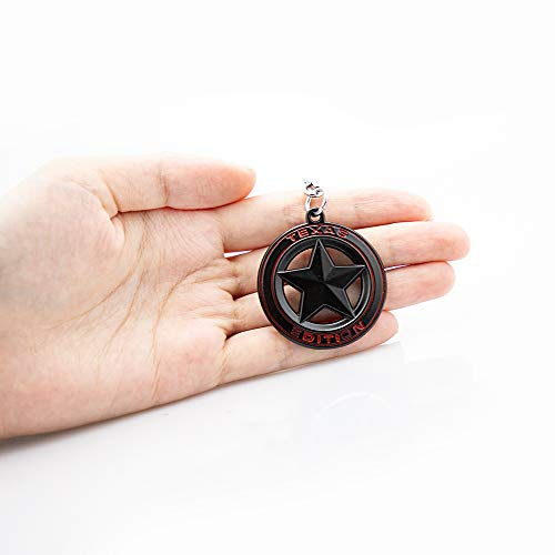 KKY Best 1pc Texas Edition Emblem Keychain Round Circle Car Key Ring for Silveraod Chevy Key Chain (Black)