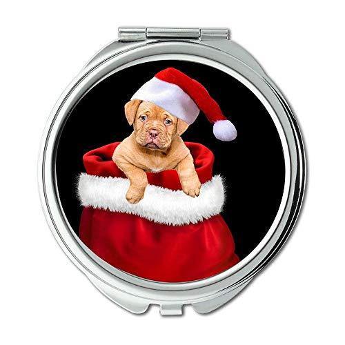 Specchio, Specchio da viaggio, Regali di Natale Cane Natale Cane Cappello da Babbo Natale, specchio tascabile, specchio portatile