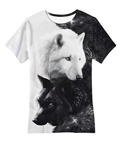 Idgreatim Big Kids Jugend Teenager Kurzarm T-Shirt Junge Mädchen Galaxy Katze 3D Grafik T-Shirt Größe 14