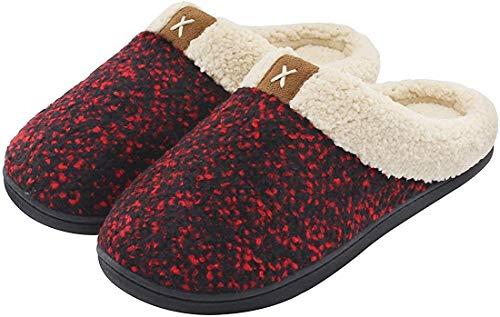 ULTRAIDEAS Women's Cozy Memory Foam Slippers Fuzzy Wool-Like Plush Fleece Lined House Shoes Anti-Skid Rubber Sole