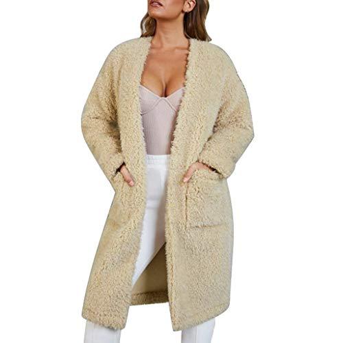 Damesjack, lange mouwen, met tas, effen, synthetisch, voor de winter, warm, dikke bodem, winddicht, elegant, polyester, katoen
