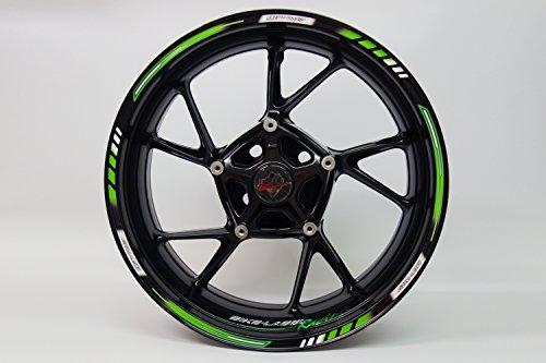 Felgenrandaufkleber 710001 Rim Stripes GP-Style - Racing 1000 Green - komplett Set - für 16 Zoll, 17 Zoll und 18 Zoll (9 mm Breite Felgenstreifen) - für 2 Motorrad-/oder 4 Autofelgen