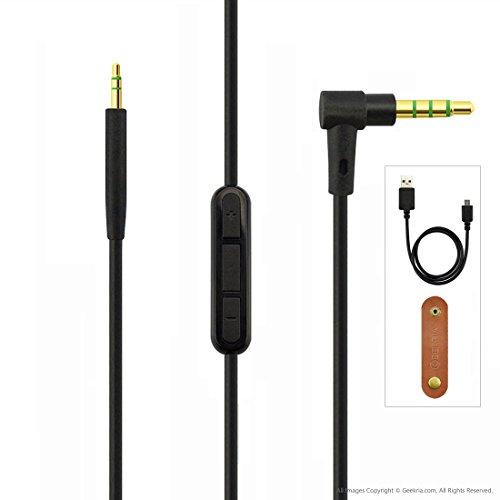 Bose QuietComfort QC35 Vervangingskabel voor hoofdtelefoon, met inline microfoon/audiokabel met volumeregeling en microfoon, werkt met Apple-apparaten, Android- en Windows-mobiele telefoons