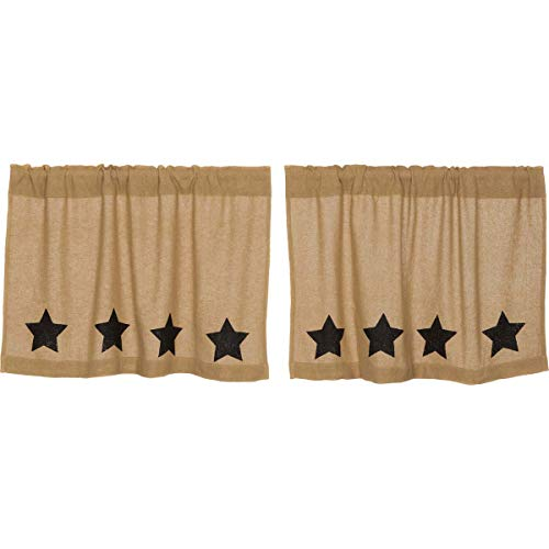 VHC Brands Burlap with Black Stencil Stars Tier Set of 2 L24xW36 Country Curtains, Tan