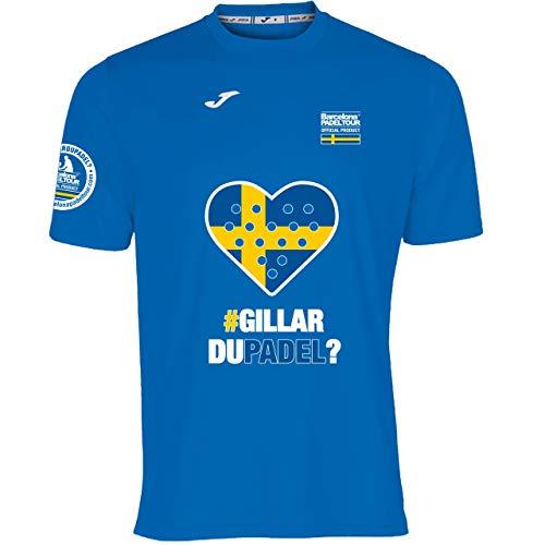 Barcelona Padel Tour | Camiseta Técnica de Manga Corta para Hombre Joma | En Tejido Micro Mesh Transpirable con Corazón Love Pádel y Bandera Suecia Azul Royal L