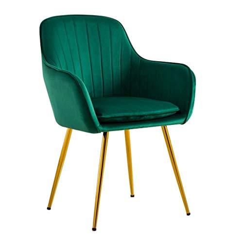 Sessel FHW Modern Dining Stuhl mit Armlehne Komfortable Rückenlehne und gepolstert Gepolsterte Sitz Hocker Tragbares for Kindererwachsene - Samt-Gewebe-Gold-Metall Beine (Color : Green)