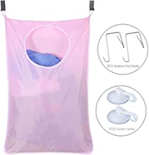 Door-Hanging Laundry Hamper Bag White, Foldable & Space Saving Corner Laundry Organiser with 2PCS Stainless Steel Door Hooks 2PCS Suction Hooks,Grey (Color : Pink)