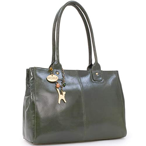Catwalk Collection Handbags - Leder - Große Schultertragetasche/Umhängetasche/Shopper/Tote - KENSINGTON - Grün